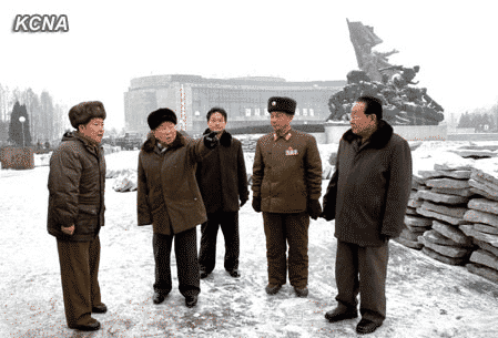 DPRK Premier Choe Yong Rim made a field survey of the construction of the Victorious Fatherland Liberation War Museum being made by the People's Army soldiers.