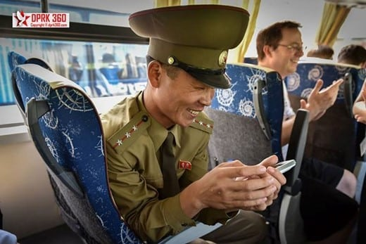 The Senior Lieutenant at Panmunjom JSA was so intrigued by samples of my 360 panoramas that he dropped everything he was doing to jump up my bus and ride with me all the way out. Photo and caption by Aram Pan