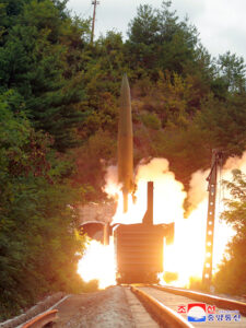 Pak Jong Chon Guides Firing Drill for Inspection of Railway Mobile Missile Regiment